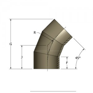 HDPE Fabricated 45° Elbow - 3 Segment